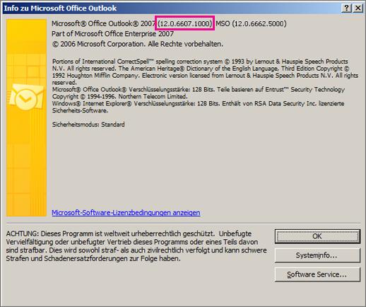 "Screenshot, der zeigt, wo die Outlook2007-Versionsnummer im Dialogfeld ""Info zu Microsoft Office Outlook"" steht"