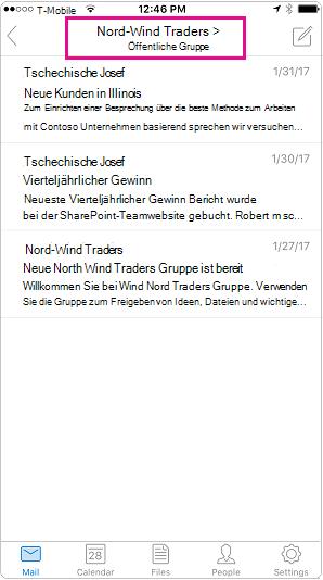 Outlook mobile Unterhaltungsansicht mit hervorgehobenem Kopfzeile