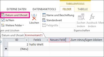 Eine Datums-/Uhrzeitfeld in der Datenblattansicht hinzufügen