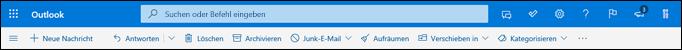 Kopfzeile des Outlook.com-Posteingangs