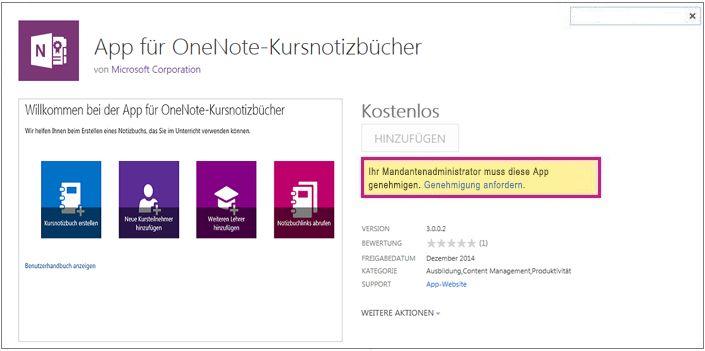 """Screenshot der Anwendungsdetailseite mit hervorgehobenem Link """"Genehmigung anfordern"""""""