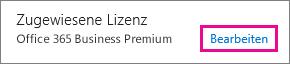 """Screenshot des Abschnitts """"Zugewiesene Lizenz"""" des Bereichs mit den Benutzerdetails. Der Link """"Bearbeiten"""" ist hervorgehoben."""