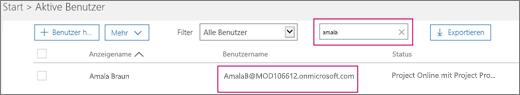 """Der Screenshot zeigt einen Abschnitt der Seite """"Aktive Benutzer"""" mit einem Suchbegriff (""""allie""""), der in das Suchfeld neben der Option """"Filter"""" eingegeben wurde, der auf """"Alle Benutzer"""" festgelegt ist. Nachstehend sind der vollständige Anzeigename und Benutzername aufgeführt."""