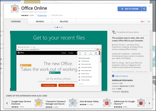 Hinzufügen der Office Online-Erweiterung aus dem Chrome Web Store