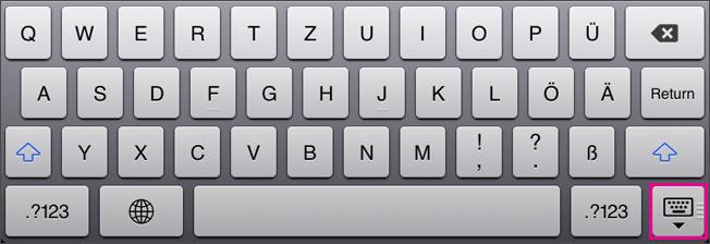 Ausblenden der Bildschirmtastatur