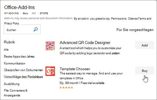 Screenshot der Seite Office-Add-ins, in dem Sie auswählen oder für Word ein Add-in suchen können.