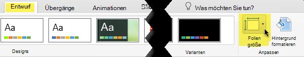 Die Schaltfläche Foliengröße befindet sich am Ende ganz rechts auf der Registerkarte ' Entwurf ' auf der Symbolleiste