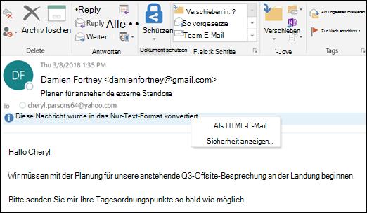 Klicken Sie auf der Infoleiste im HTML-Format angezeigt werden.