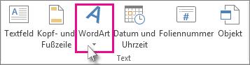WordArt durch Klicken hinzufügen