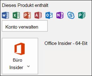 """Zum Überprüfen Ihrer Outlook-Version wechseln Sie zu """"Datei"""" > """"Office-Konto""""."""