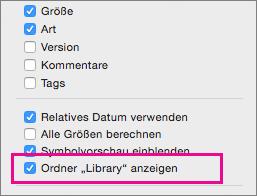 """Anzeigen der Einstellung für Bibliotheksdateien in den Optionen der Ansicht """"Finder"""""""