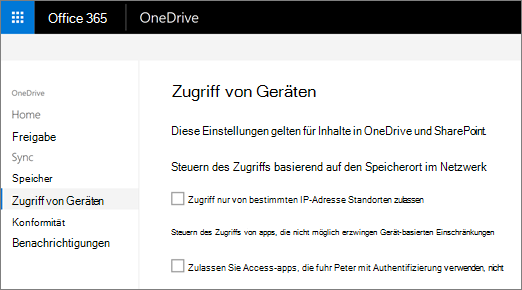 Die Registerkarte Gerät Zugriff der OneDrive-Verwaltungskonsole