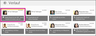 Screenshot der Verlaufskachel mit mehreren angezeigten Chatnachrichten. Die verpasste Chatnachricht ist hervorgehoben.
