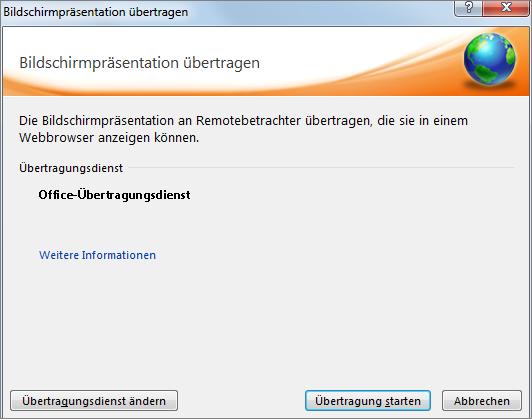 """Zeigt das Dialogfeld """"Bildschirmpräsentation übertragen"""" in PowerPoint 2010."""