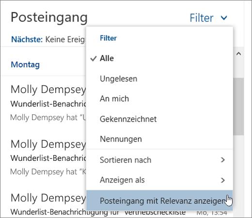 """Screenshot des Menüs """"Filter"""", """"Posteingang mit Relevanz anzeigen"""" ausgewählt"""
