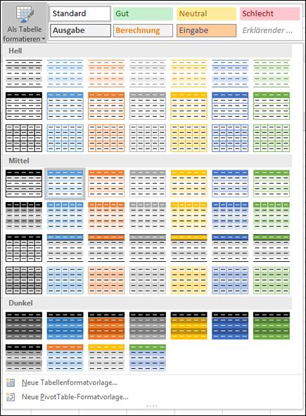 Formatvorlagenkatalog für Excel-Tabelle