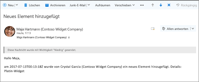 E-Mails von Microsoft Flow gesendet, wenn ein Element geändert