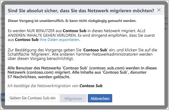 Screenshot des Dialogfelds zum Bestätigen, dass Sie ein Yammer-Netzwerk migrieren möchten