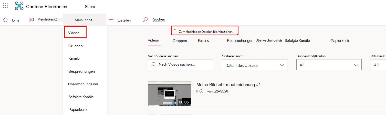 """Abschnitt """"Videos"""" im Datenstrom"""
