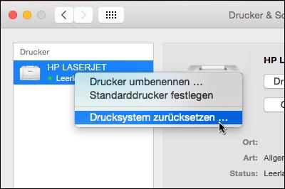 """Klicken Sie bei gedrückter CTRL-Taste auf die Druckerliste, um unter OSX auf """"Drucksystem zurücksetzen"""" zuzugreifen"""