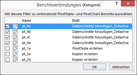 "Datenschnitt-Berichtsverbindungen über ""Datenschnitttools"" > ""Optionen"""