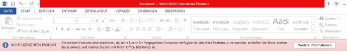 Fehlermeldung zu nicht lizenziertem Produkt