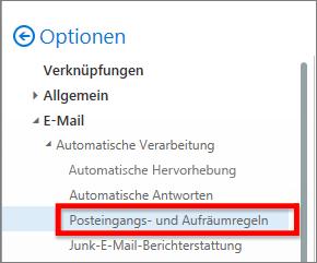 Office 365-Option ' Posteingangsregeln '