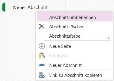 """Option """"Abschnitt umbenennen"""" in OneNote Online."""