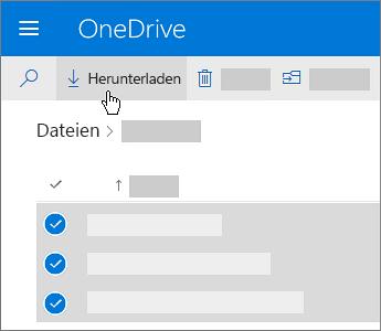 Screenshot der Aktion zum Auswählen und Herunterladen von OneDrive-Dateien.