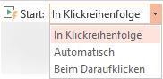 """Wiedergabeoptionen für ein Video auf Ihrem PC: """"In Klickreihenfolge"""", """"Automatisch"""" oder """"Beim Klicken"""""""