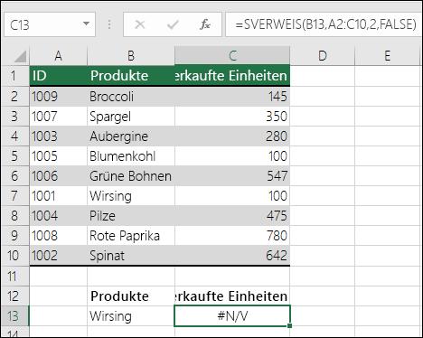 Fehler #NV in SVERWEIS: Nachschlagewert ist nicht in der ersten Spalte der Tabellenmatrix