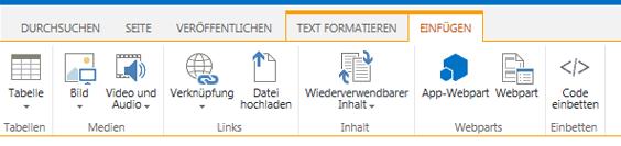 Screenshot der Registerkarte 'Einfügen' mit Schaltflächen zum Einfügen von Tabellen, Videos, Grafiken und Links in Ihren Websiteseiten