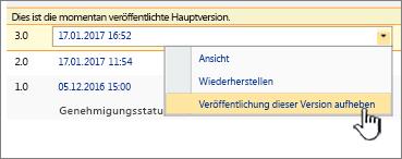 """Dropdown für die veröffentlichte Datei, Option """"Veröffentlichung dieser Version aufheben"""" hervorgehoben"""