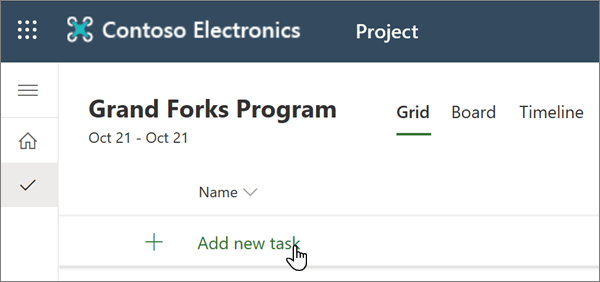 Die Auswahl ' neue Aufgabe hinzufügen ' in Project