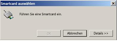 Aufforderung zum Einstecken der Smartcard