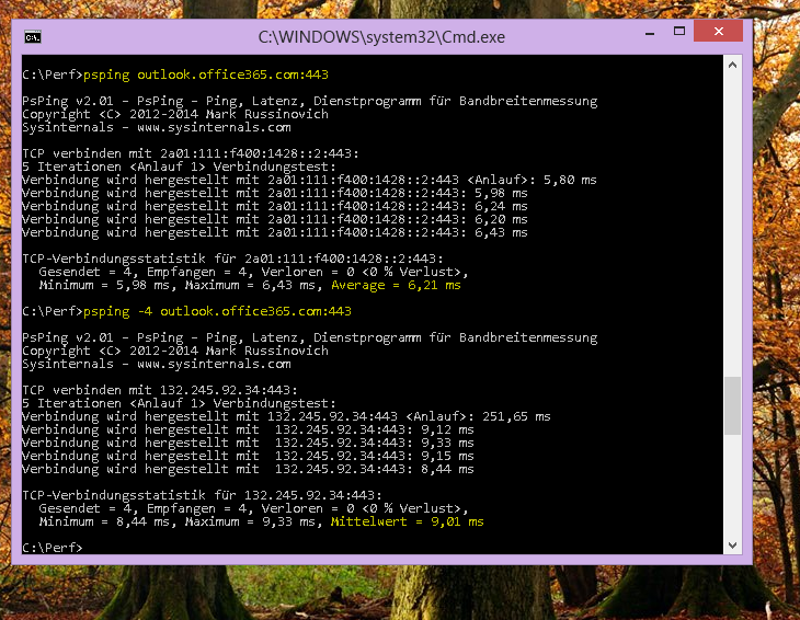 Suchen Sie Ihre IP, indem Sie auf der Befehlszeile des Client-Computers PSPing eingeben.