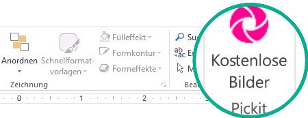 """Nachdem Sie das Add-In """"Pickit – Kostenlose Bilder"""" installiert haben, wird es auf der Registerkarte """"Start"""" ganz rechts im Menüband angezeigt."""