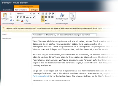 Der Rich Text-Editor für Blogs