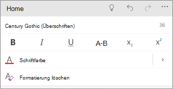Optionen für das Text Format in PowerPoint Mobile für Windows-Smartphones.