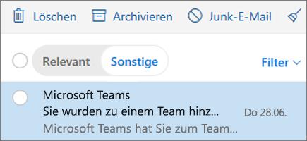 Archivieren von Nachrichten in Outlook im Web