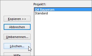 """Schaltfläche """"Löschen"""" auf der Registerkarte """"Kalender"""""""
