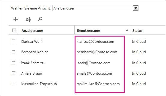"""Spalte """"Benutzername"""" im Office 365 Admin Center"""