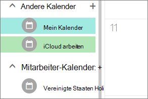 Klicken Sie unter Andere Kalender in Outlook für das Web angezeigte iCloud-Kalender
