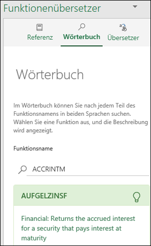 """Bereich """"Wörterbuch"""" des Funktionenübersetzers"""