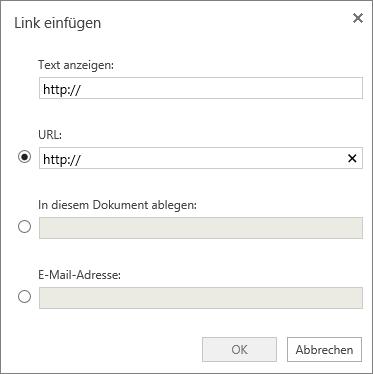 """Screenshot des Dialogfelds """"Link einfügen"""", in dem Sie Informationen für Anzeigetext und eine URL eingeben, einen Ort im Dokument oder eine E-Mail-Adresse angeben können."""