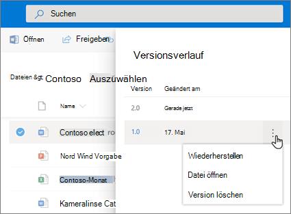 Screenshot des Wiederherstellens von Dateien in OneDrive for Business aus dem Versionsverlauf im Detailbereich der modernen Benutzeroberfläche