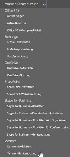 """In der Dropdownliste """"Bericht auswählen"""" den Yammer-Geräteverwendungsbericht auswählen"""