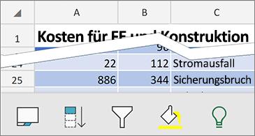 Arbeitsblatt mit verfügbaren kontextbezogenen Befehlen unten auf dem Bildschirm