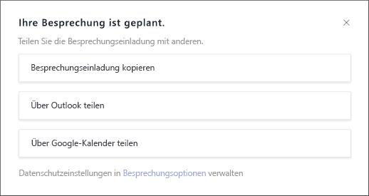 """Bildschirm """"Ihre Besprechung ist geplant"""""""