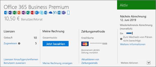 """Die Seite """"Abonnements"""", auf der Ihr Abonnement sowie dessen Status angezeigt werden."""